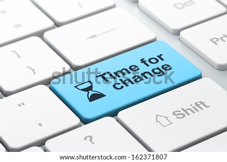 Timeline concept: computer keyboard with Hourglass icon and word Time for Change, selected focus on enter button, 3d render - stock photo