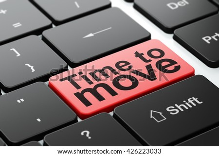 Timeline concept: computer keyboard with word Time to Move, selected focus on enter button background, 3D rendering - stock photo