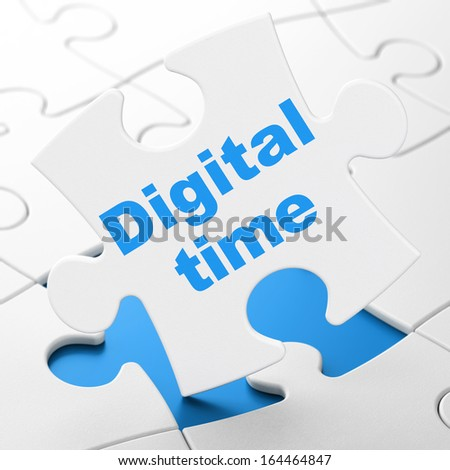 Timeline concept: Digital Time on White puzzle pieces background, 3d render - stock photo
