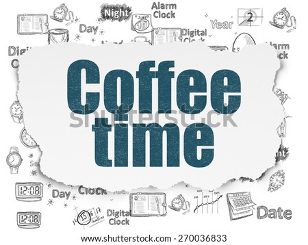 Timeline concept: Painted blue text Coffee Time on Torn Paper background with  Hand Drawing Time Icons, 3d render - stock photo