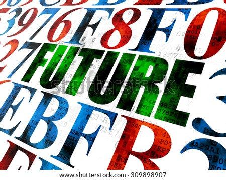 Timeline concept: Pixelated green text Future on Digital wall background with Hexadecimal Code - stock photo