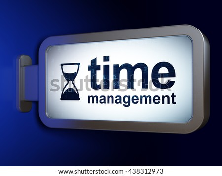 Timeline concept: Time Management and Hourglass on advertising billboard background, 3D rendering - stock photo
