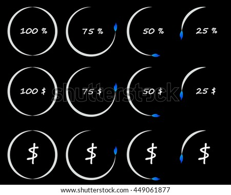 Timer or counter of per cent and dollars, conceptual illustration, business and finance elements. Countdown icons collection isolated over black background - stock photo