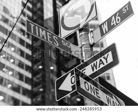 Times Square signs & W 46 st New York daylight US - stock photo
