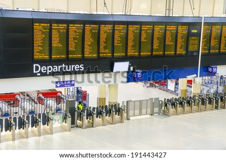 Timetable at departures at Waterloo reilway station, London, UK - stock photo