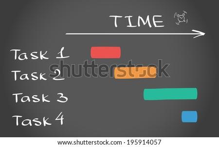 Timing plan black and white hand drawn illustration - stock photo