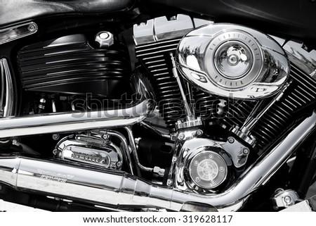 TIMISOARA, ROMANIA,July 7 2009: Harley Davidson motor close-up - stock photo