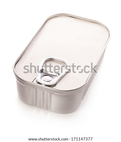 Tin can for new design isolated on white background - stock photo