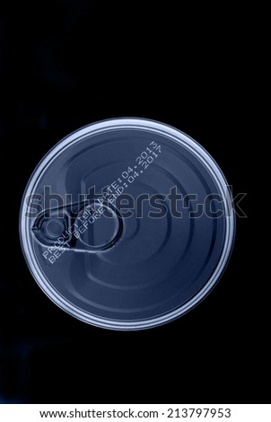 Tin can isolated on black background - stock photo