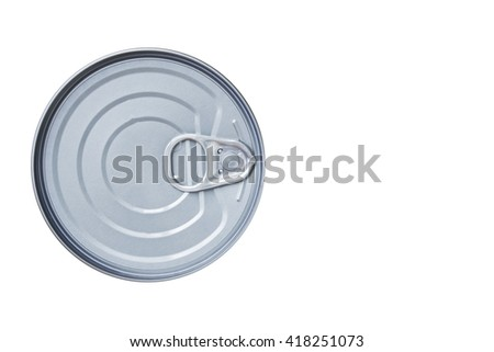 Tin can isolated on white / top view - stock photo