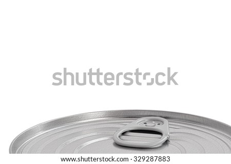 Tin Can Lid, Food Preserve Ringpull Canister Sealed Top, Large Detailed Isolated Macro Closeup, Blank Empty Copy Space - stock photo