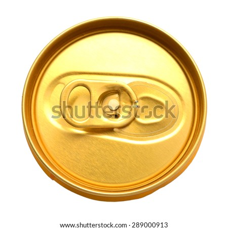 Tin can lids with opener isolated on white - stock photo