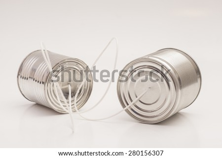 tin can phone.communication concept - stock photo