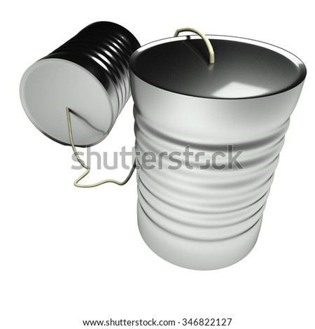 Tin can phone isolated over white, 3d render - stock photo