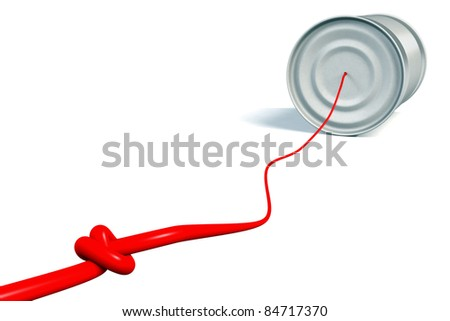 tin can phone with red connection cable on white - stock photo