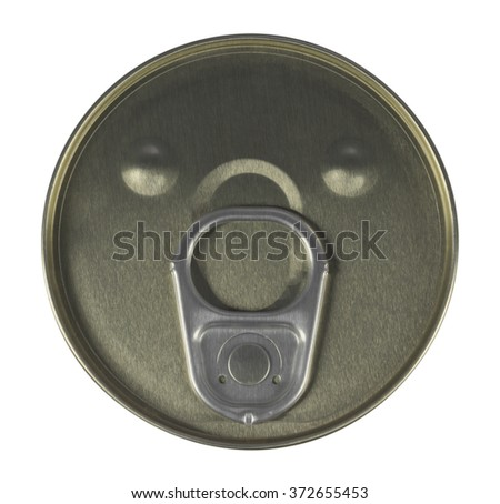 Tin can preserve isolated on white. Top view. Clipping path included. - stock photo