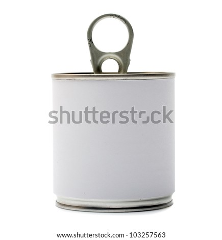 Tin can with blank white Label isolation on a white - stock photo