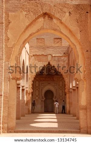 Tin-Mal ruins XII century mosque, atlas morocco - stock photo