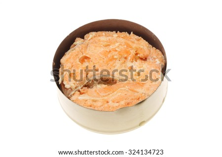 Tin of pink salmon isolated against white - stock photo