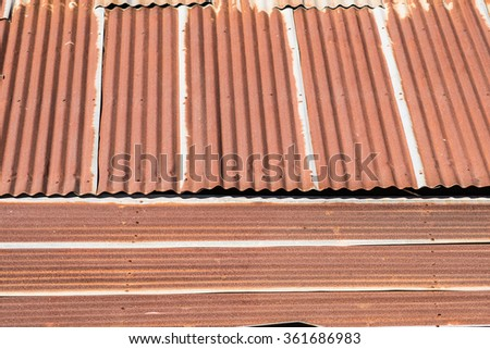 Tin old roof with rust - stock photo