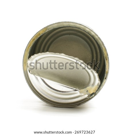 Tin with open lid top view isolated on the white background - stock photo