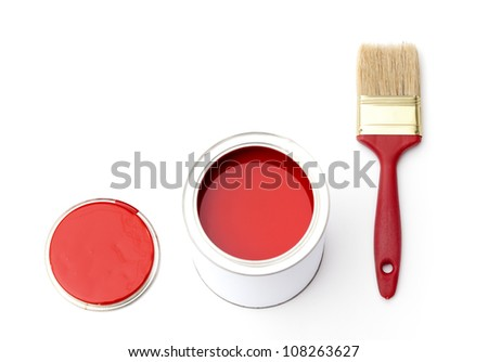 Tin with rad paint, cover and paint brush near the tin, isolated on white - stock photo