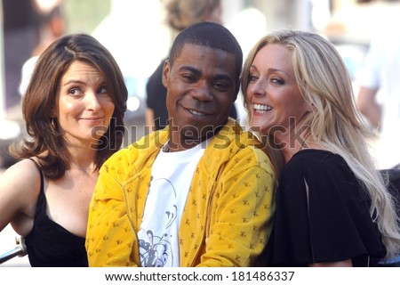Tina Fey, Tracy Morgan and Jane Krakowski on location for Entetainment Weekly Photoshoot to promote 30 ROCK, Meatpacking District, New York, August 11, 2007 - stock photo