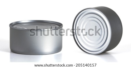 Tincan Conserve, Canned Food, Metal Tin Can, white background - stock photo