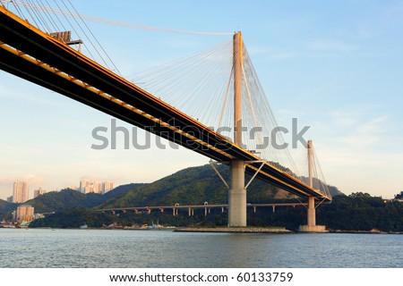 Ting Kau Bridge in Hong Kong - stock photo