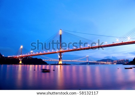 Ting Kau Bridge in Hong Kong under magic hour - stock photo
