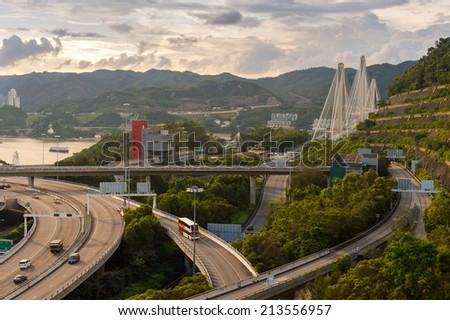 Ting Kau suspension bridge in Hong Kong - stock photo