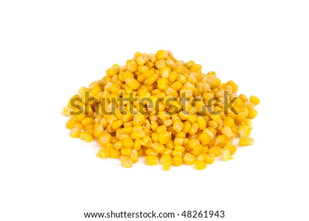 Tinned corns on the white background. - stock photo