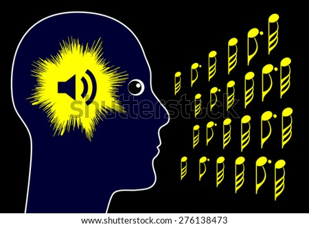 Tinnitus. Concept sign of hearing annoying noises in the head and ears - stock photo