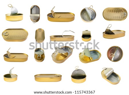 Tins collection. Can with sprats set. isolated over white background . - stock photo
