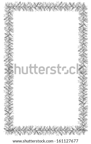Tinsel frame isolated on white background - stock photo