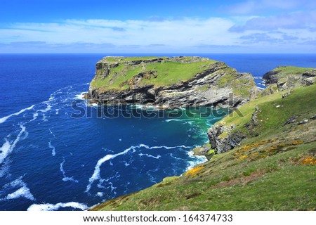 Tintagel Island, North Cornwall, United Kingdom - stock photo