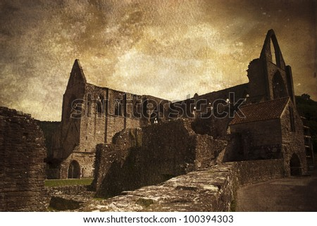 Tintern Abbey in Wales - stock photo