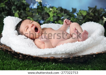 Tiny Baby, Big Yawn - stock photo