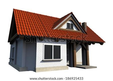 Tiny House 3D Render Illustration Isolated on White. - stock photo