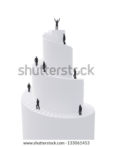 Tiny people climbing a spiral tower - stock photo