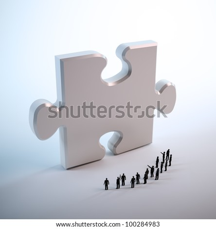 Tiny people looking at a jigsaw puzzle piece - stock photo