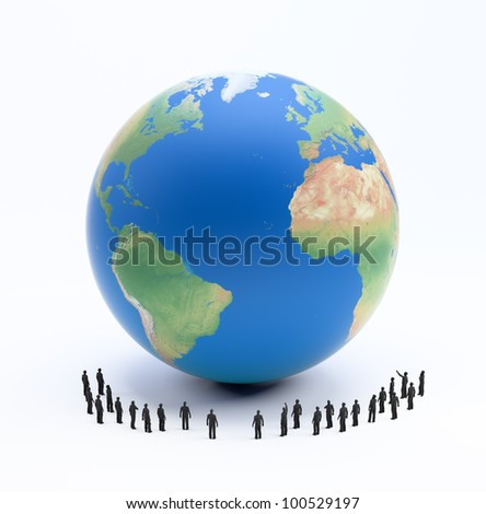 Tiny people standing around Earth globe - stock photo