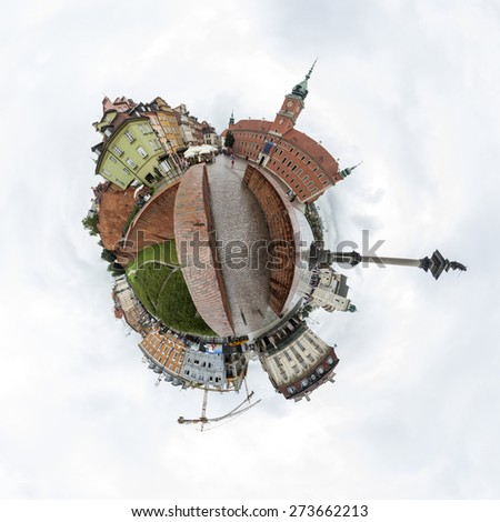 Tiny planet of the Castle Square in Old Town of Warsaw, Poland - stock photo