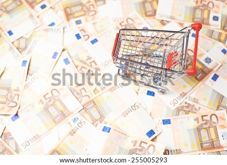 Tiny shopping cart over the surface covered with the multiple fifty euro bank notes - stock photo