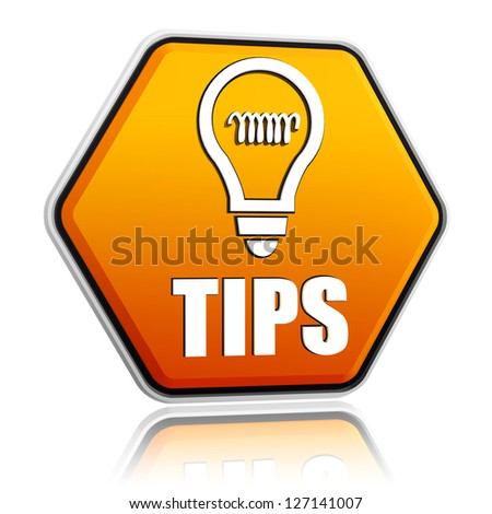 tips and bulb symbol - 3d orange hexagon button with text - stock photo