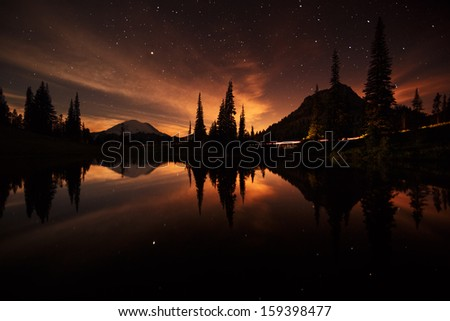tipsoo lake reflections at night - stock photo