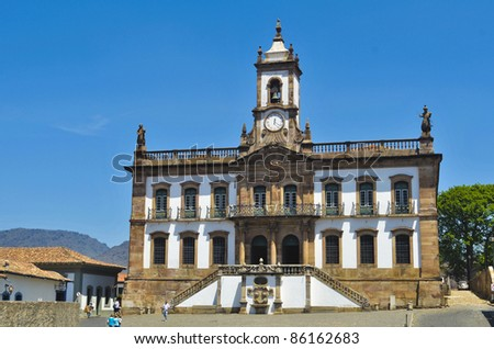 Tiradentes Square in Ouro Preto - Brazil - stock photo