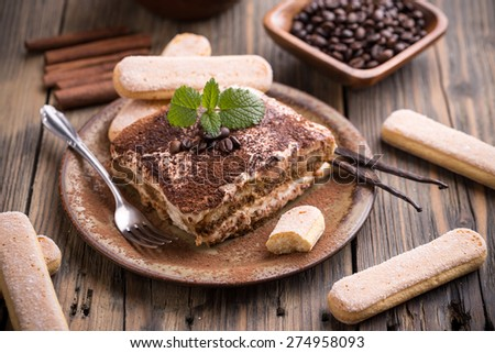 Tiramisu cake in rustic style - stock photo