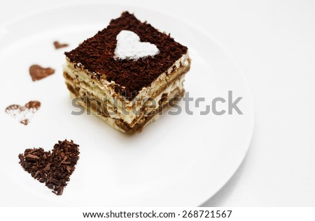 Tiramisu cake with heart - stock photo
