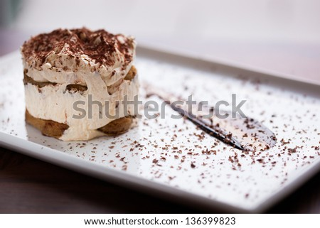 Tiramisu dessert. Closeup of a Tiramisu Dessert on a plate. Shallow DOF. Developed from RAW; retouched with special care and attention; Small amount of grain added for best final impression. - stock photo